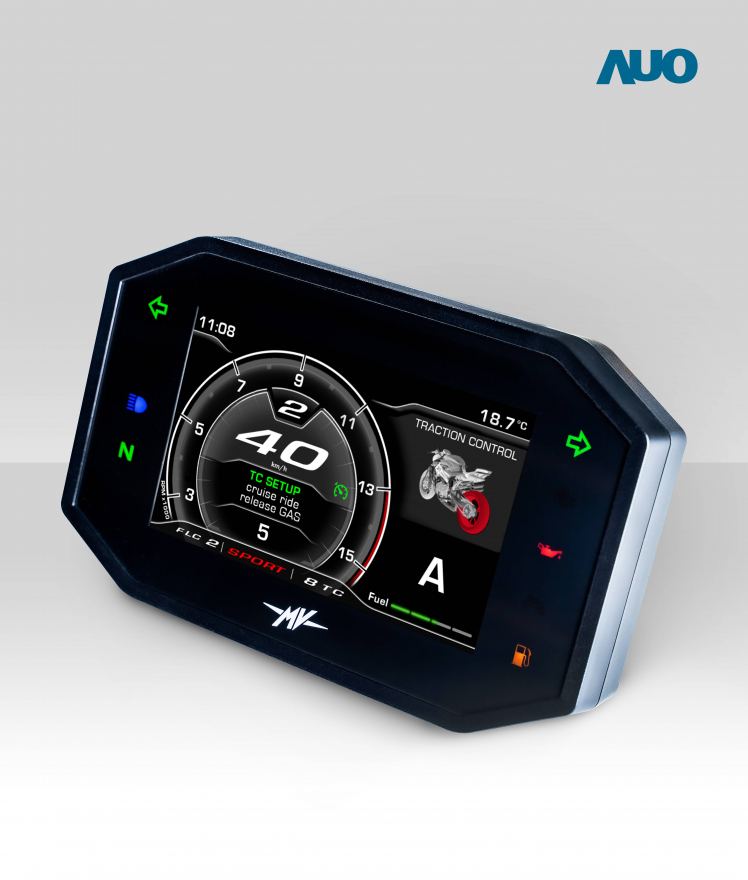 AUO smart dashboard system for motorbike is equipped with AUO automotive panels and builds the key communication interface connecting human, vehicle and AIoV cloud platform, as the core of realizing Smart Connected Motorcycle.